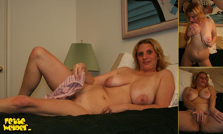 Die mollige hausfrau hat fette Hängetitten mit großen Brustwarzen ...